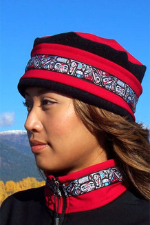 WOMEN'S AURORA HAT / (Softshell) / Ruby,  Black,  / Totem-Brite (trim)