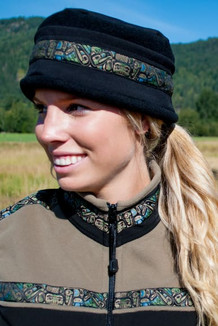 WOMEN'S AURORA HAT / (Softshell) /  Solid Black,  / Totem-Tan (trim)