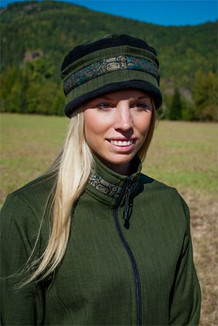 WOMEN'S AURORA HAT / (Softshell) / Fjord, Black,  / Totem-Tan (trim)