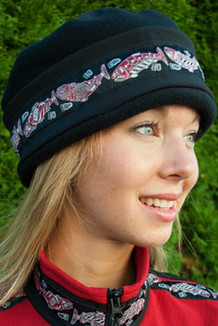 WOMEN'S AURORA HAT / (Softshell) / Solid Black,  / Salmon-Red (trim)