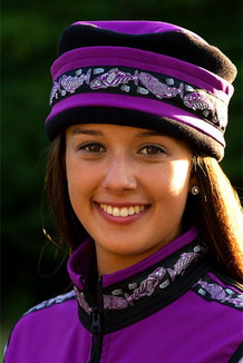 WOMEN'S AURORA HAT / (Softshell) /  Razzleberry, Black,  / Salmon-Purple (trim)