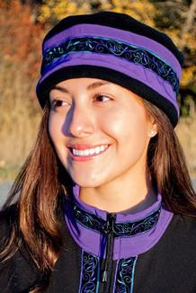 WOMEN'S AURORA HAT / (Softshell) / Lupine, Black,  / Velvet-Lupine (trim)