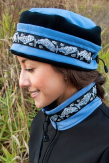 WOMEN'S AURORA HAT / (Softshell) /  Twilight, Black,  / Salmon-Periwinkle (trim)