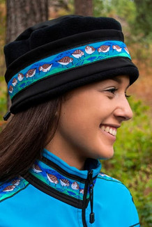 WOMEN'S AURORA HAT / (Softshell) / Solid Black,  / Sandpipers-Teal (trim)