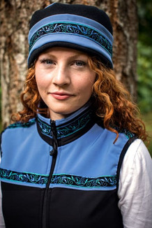 WOMEN'S AURORA HAT / (Softshell) / Twilight, Black,  / Velvet-Blue(trim)