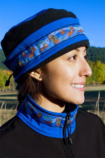 WOMEN'S AURORA HAT / (Softshell) / Pacific Blue, Black,  / Sea Otter-Brite (trim)