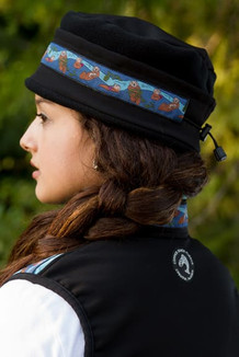 WOMEN'S AURORA HAT / (Softshell) / Solid Black,  / Sea Otter-Navy (trim)