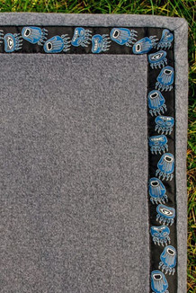 BLANKET - 5' x 5' / (Double-Sided Thermal Fleece) / Grey Heather,  / Bear Tracks-Blue (trim)
