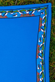 BLANKET - 5' x 5'  / (Double-Sided Thermal Fleece) / Surf Blue, / Puffins-Olive(trim)