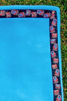 BLANKET - 5' x 5'  / (Double-Sided Thermal Fleece) / Brite Sky, / Bear Tracks-Red(trim)