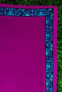 BLANKET - 5' x 5'  / (Double-Sided Thermal Fleece) / Plum, / Totem-Aqua (trim)