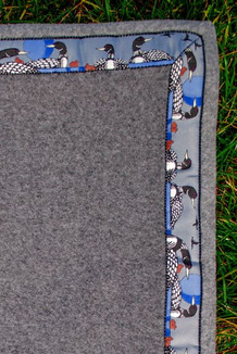 BLANKET - 5' x 5'  / (Double-Sided Thermal Fleece) / Charcoal Heather / Loons-Grey (trim)