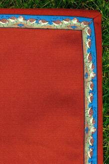 BLANKET - 5' x 5'  / (Herringbone-Textured Single-Sided Fleece) / Canyon, / Sandpipers-Tan (trim)