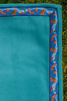 BLANKET - 5' x 5' / (Double-Sided Thermal Fleece) / Turquoise, / Sea Otters-Navy (trim)