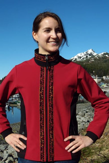ARCTIC JACKET / - SALE - CLOSEOUT - (Softshell) / Picasso Red, Black, / Velvet-Orange (trim)