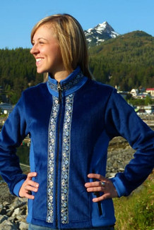 ARCTIC JACKET / - SALE - CLOSEOUT - (Windblock Fleece) / Sapphire, French Blue, / Floral Wave (trim)