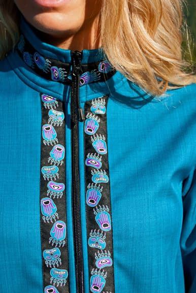 Close up of Zipper & Collar trim