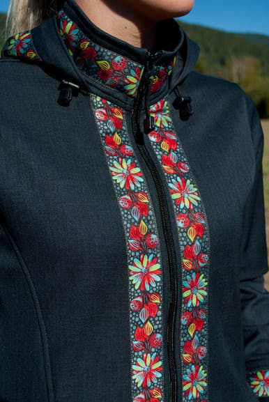 Close up of trim added to Zipper, Collar, and Hood