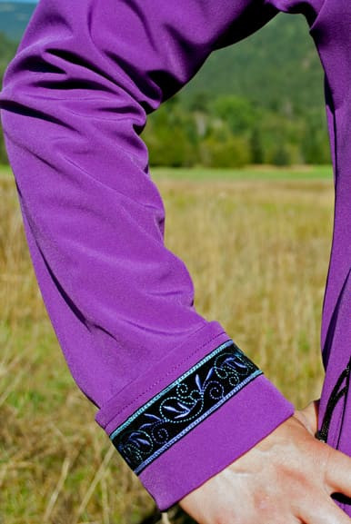 Close up of adjustable cuff with trim added
