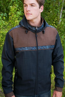 KODIAK JACKET / (Softshell) / Raven, Ridge, /  Totem-BlueGrey (trim)