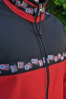 KODIAK JACKET / - SALE - CLOSEOUT - / (Softshell) / Aztec Red, Black, / Bear Tracks-Red (trim)