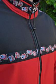 KODIAK JACKET / - SALE - CLOSEOUT - / (Softshell) / Aztec Red, Black, / Bear Tracks-Red (trim)