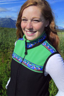 WOMEN'S KODIAK VEST / - SALE - CLOSEOUT - / (Hybrid)  / Black, Spring Green, / Puffins-Brite (trim)