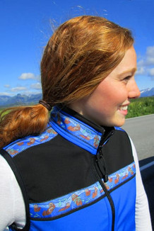 WOMEN'S KODIAK VEST / (Softshell) /  Pacific Blue, Black, / Sea Otters-Brite (trim)