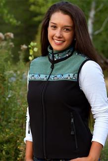 WOMEN'S KODIAK VEST / - SALE - CLOSEOUT - / (Hybrid)  / Black, Seafoam Tweed, / Loons-Green (trim)