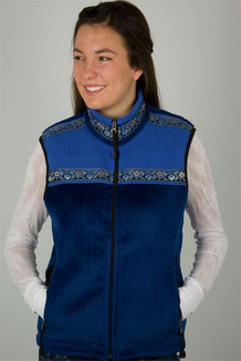 WOMEN'S KODIAK VEST / - SALE - CLOSEOUT - (Windblock Fleece) / Sapphire, French Blue, / Floral Wave (trim)
