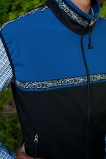 MEN'S KODIAK VEST / - SALE - CLOSEOUT - (Softshell) / Black, Navy, / Native-Blue (trim)