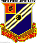 STICKER US ARMY UNIT 76th Field Artillery Regiment - with Text