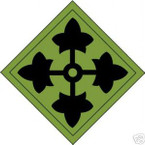 STICKER US ARMY UNIT   4TH INFANTRY DIV SHIELD SUB
