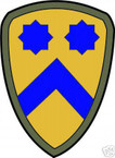 STICKER US ARMY UNIT   2nd Cavalry Div. SHIELD COL