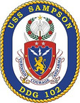 STICKER U.S. Navy USS Sampson DDG 102 Destroyer Emblem Crest