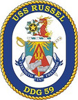 STICKER U.S. Navy USS Russell DDG 59 Destroyer Emblem Crest