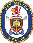 STICKER U.S. Navy USS Milius DDG 69 Destroyer Emblem Crest