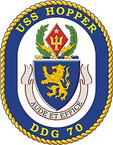 STICKER U.S. Navy USS Hopper DDG 70 Destroyer Emblem Crest