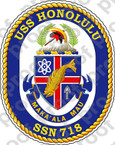 STICKER U.S. Navy USS Honolulu SSN-718 submarine emblem Crest Decommissioned