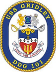 STICKER U.S. Navy USS Gridley DDG 100 Destroyer Emblem Crest