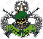 STICKER U S ARMY FLASH 10TH SPECIAL FORCES GROUP BAD TOLZ SKULL LOGO