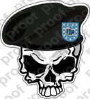 STICKER US ARMY BERET UNIT   2ND INFANTRY DIV SKULL