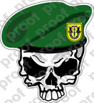 STICKER US ARMY BERET UNIT   1ST SPECIAL FORCES SKULL