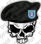 STICKER US ARMY BERET UNIT   3RD INFANTRY DIVISION SKULL