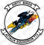 STICKER USNR VA 773 DIRTY BIRDS