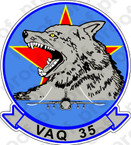 STICKER USN VAQ 35 GREY WOLVES