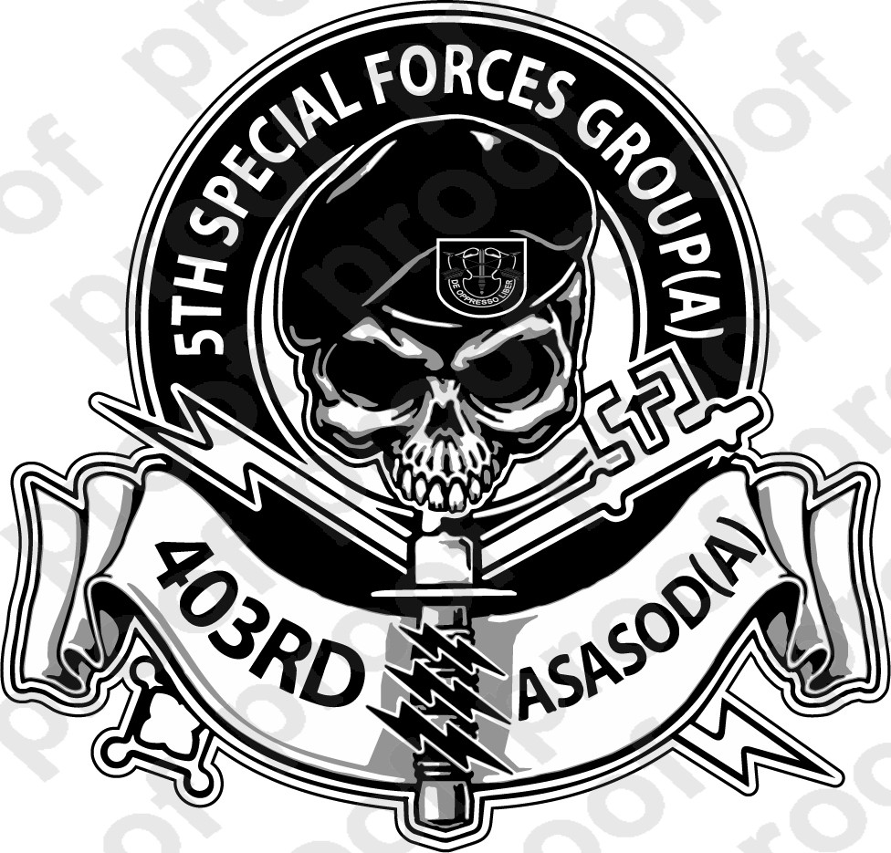Sticker Us Army 403rd Special Forces Skull M C Graphic