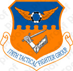 STICKER USAF 178TH TACTICAL FIGHTER GROUP