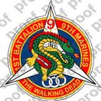 STICKER USMC UNIT 1st Battalion 9th Marines Walking Dead Dragon  ooo  LISC#20187