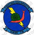 STICKER USN VAW 78 FIGHTING ESCARGOTS